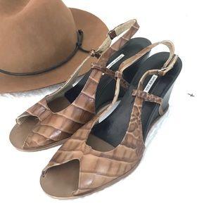 Dries Van Noten brown open toe sling back sandals